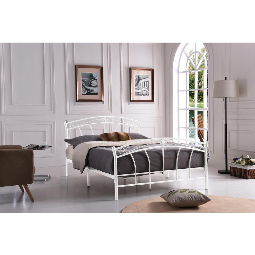 Hodedah White Queen-Size Metal Panel Bed with Headboard and Footboard