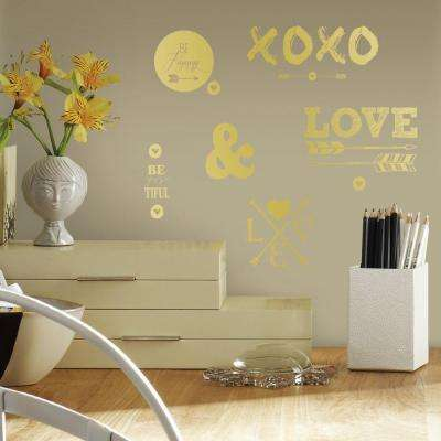 5 in. W x 11.5 in. H Gold Love with Hearts and Arrows 21-Piece Peel and Stick Wall Decal