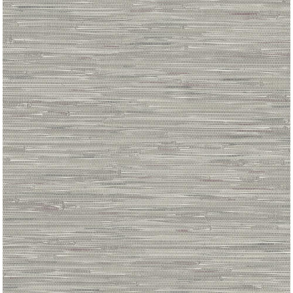 Silver Grasscloth Wallpaper: Brewster Natalie Grey Faux Grasscloth Wallpaper-2704-22268