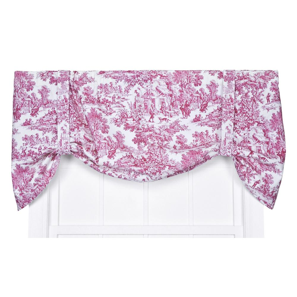 Ellis Curtain Victoria Park Toile 24 in. L Cotton Tie-Up Valance in Red