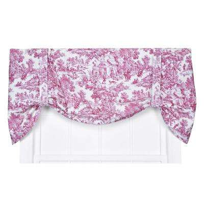 Victoria Park Toile 24 in. L Cotton Tie-Up Valance in Red
