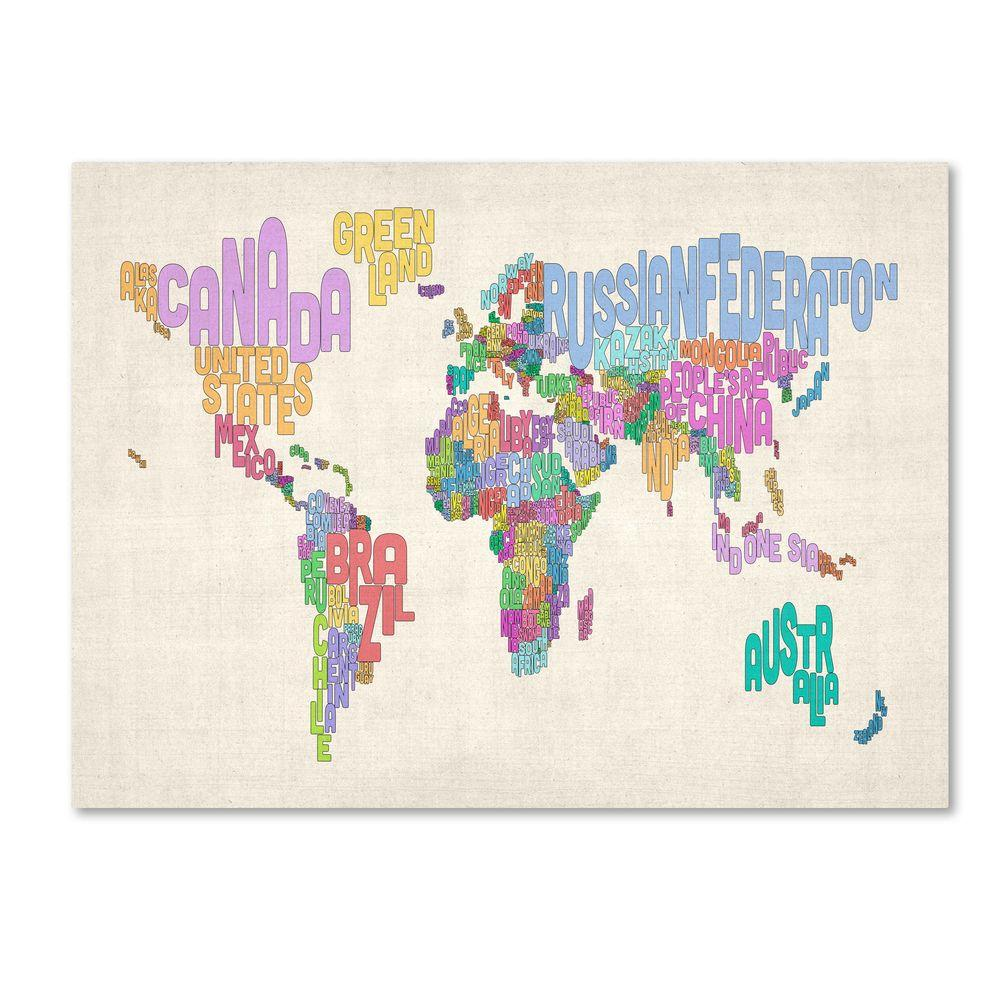 Trademark Fine Art 14 In X 19 World Text Map 5 Canvas