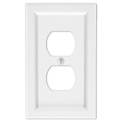 Woodmore 1 Gang Duplex Wood Wall Plate - White