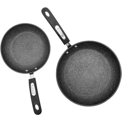 The Rock 2-Piece Aluminum Nonstick Frying Pan Set in Black