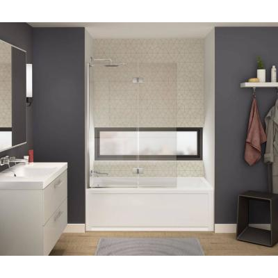 Axial Duo Shield 42 in. x 58 in. Frameless Tub Door with 24 in. Fixed Panel and 18 in. Pivoting Panel in Chrome