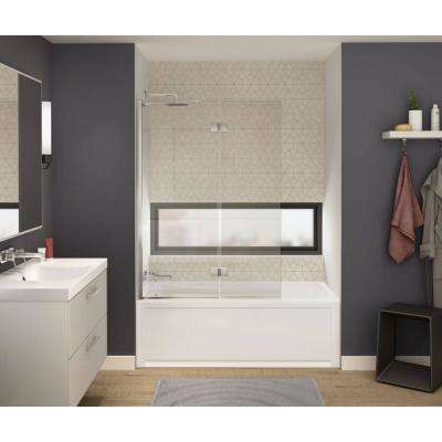Axial Duo 42 in. x 58 in. Frameless Fixed Tub Door in Chrome