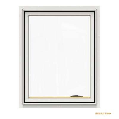 24.75 in. x 36.75 in. W-2500 Series White Painted Clad Wood Right-Handed Casement Window with BetterVue Mesh Screen