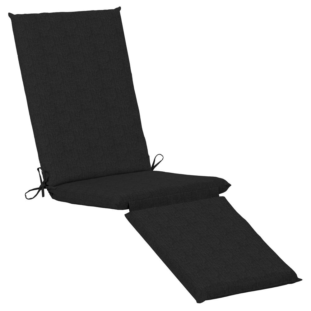 Home Decorators Collection 19 x 74 Sunbrella Canvas Black Outdoor Chaise Lounge Cushion