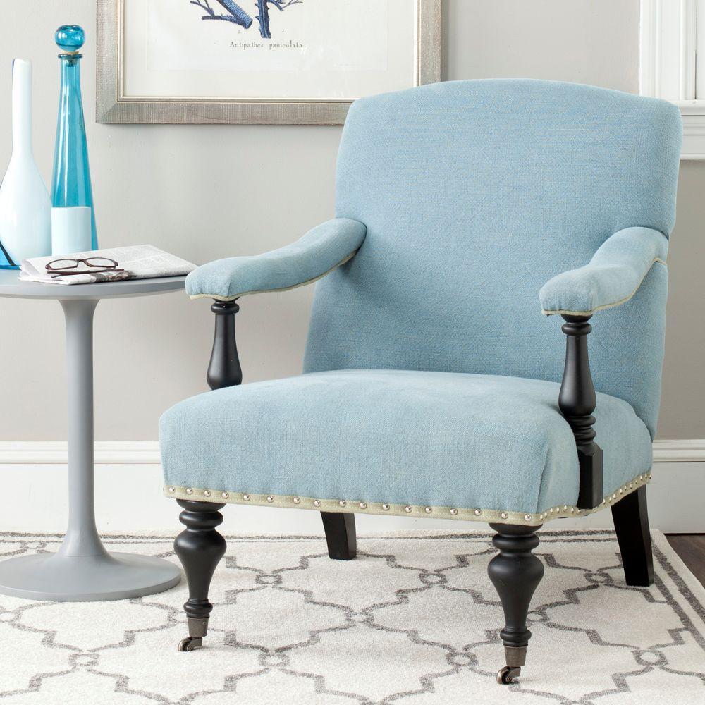 Devona Light Blue/Black Linen Arm Chair