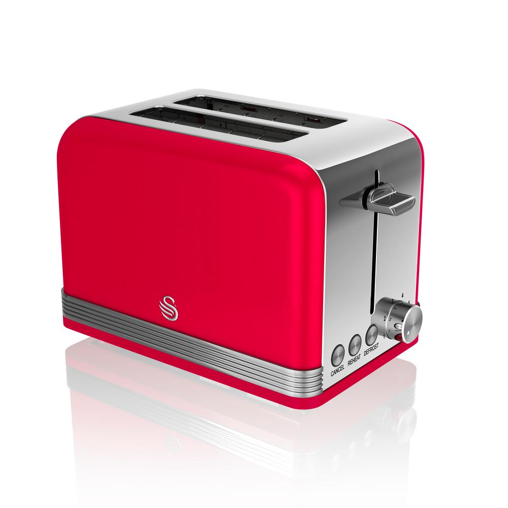 Retro 2-Slice Red Toaster Power up your kitchen design with the chic, mid-century modern lines of Swan's Retro Style 2-Slice Toaster. In addition to adjustable browning in auto centered racks, it offers defrost, reheat and cancel functions. Compliments any kitchen. Color: Red.