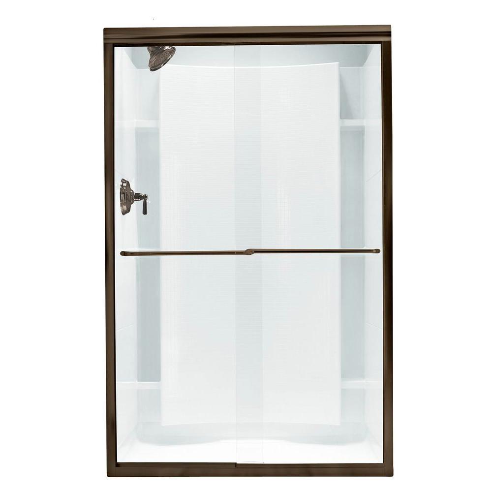Finesse 45-3/8 in. x 65-1/2 in. Semi-Frameless Sliding Shower Door in Deep Bronze with Handle