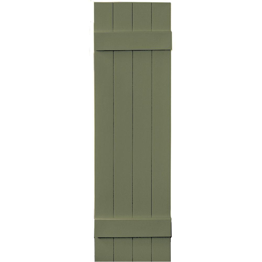 Builders Edge 14 in. x 51 in. Board-N-Batten Shutters Pair, 4 Boards Joined #282 Colonial Green