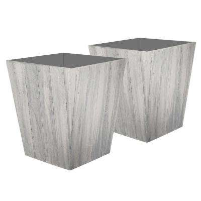 Farmington 15.5 in. x 18 in. Whitewash Resin Planter (2-Pack)