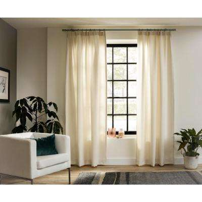 95 in. Intensions Curtain Rod Kit in Forest with Long Finials with Open Brackets and Rings