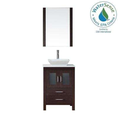 Dior 24 in. W x 18.3 in. D Vanity in Espresso with Stone Vanity Top in White with White Basin and Mirror