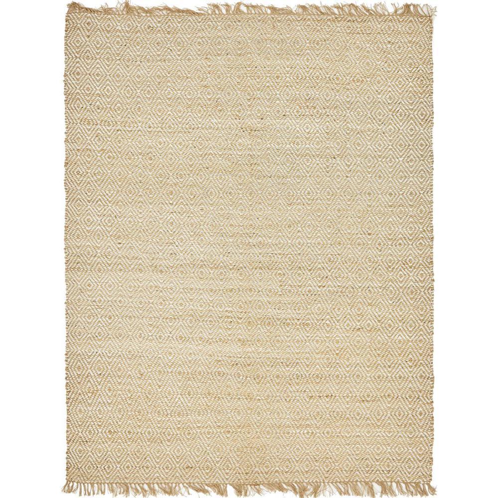 Unique Loom Braided Jute Assam Natural 8' 0 x 10' 0 Area Rug