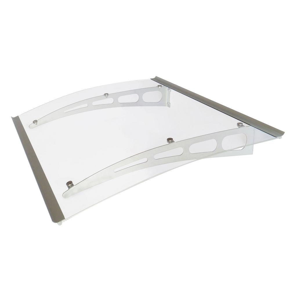 Advaning Pa Series Solid Polycarbonate Sheet Door Awning 59 In W X 35 In D In Silver Aluminum Bracket Da5935 Pss1a The Home Depot