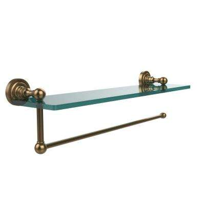 Dottingham 16 in. L  x 5 in. H  x 5 in. W Paper Towel Holder with Clear Glass Shelf in Brushed Bronze