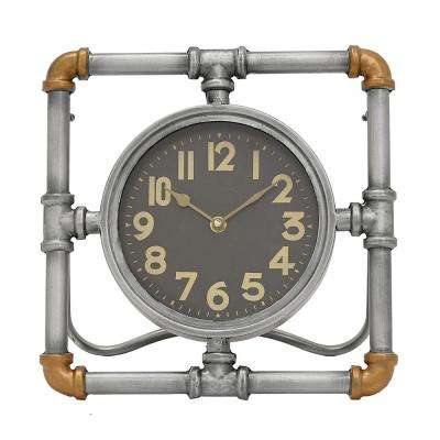 12 in. x 5.75 in. Metal Table Clock in Gray