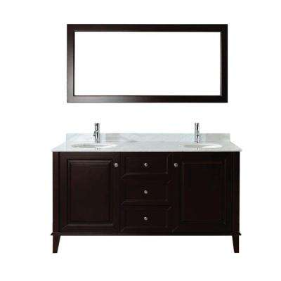 Lily 63 in. Vanity in Chai with Marble Vanity Top in Chai and Mirror