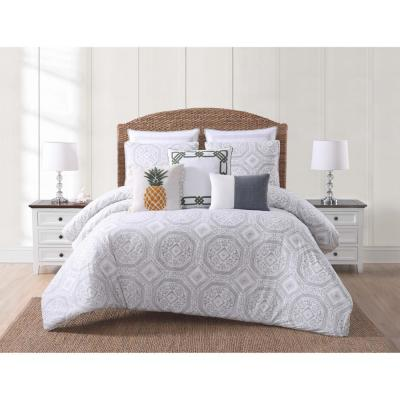 Sunwashed Isle White and Gray Queen Duvet and Pillow Shams