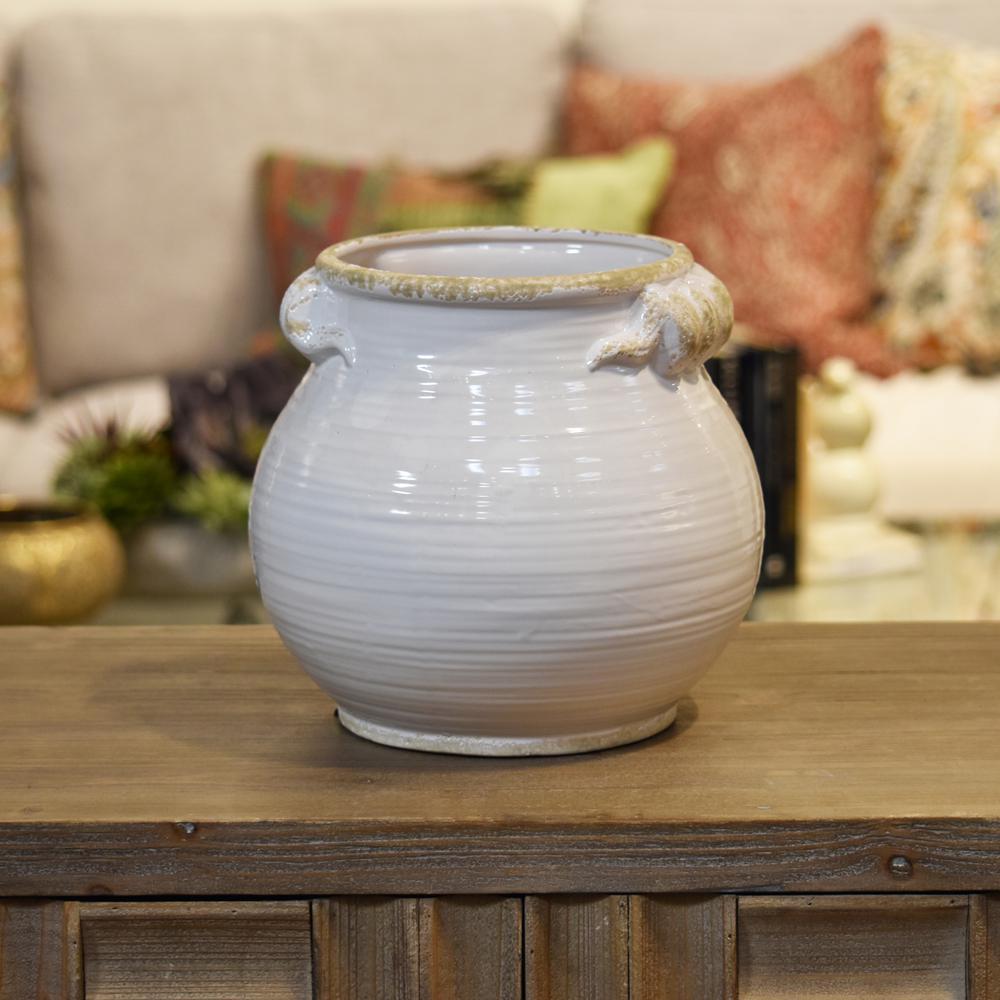 White Gloss Distressed Finish Ceramic Decorative Vase
