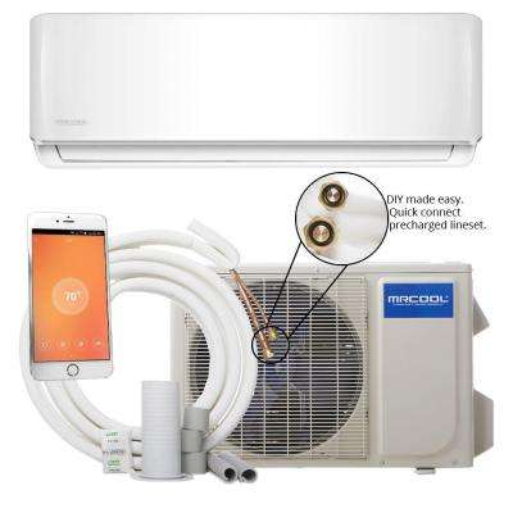 DIY 12,000 BTU 1 Ton Ductless Mini-Split Air Conditioner and Heat Pump - 115V/60Hz