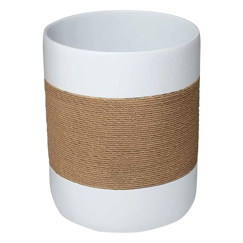 Castaway 7.9 in. Wastebasket in White Resin with Faux Jute Strip