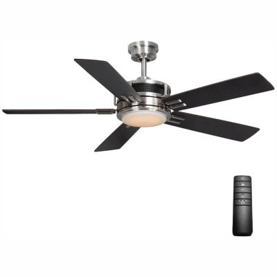 Windlow 52 in. LED Indoor Brushed Nickel Ceiling Fan with Light Kit and Remote Control