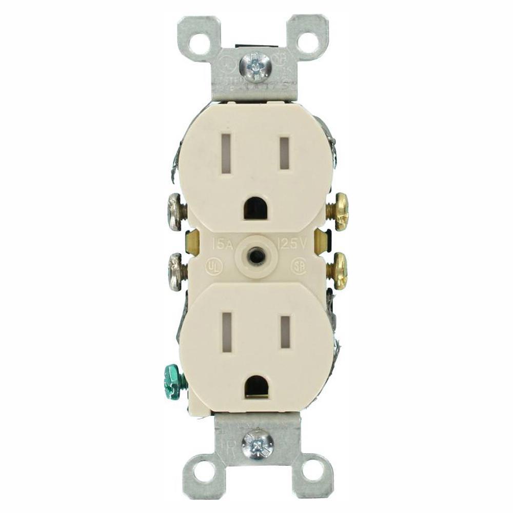 Leviton 15 Amp Tamper-Resistant Duplex Outlet, Light Almond (10-Pack)