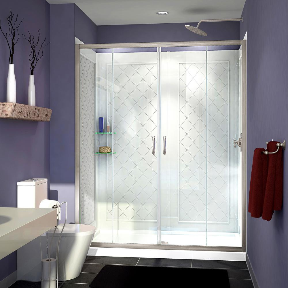 DreamLine Visions 34 in. x 60 in. x 76.75 in. Framed Sliding Shower Door in Brushed Nickel with Right Drain Base and Backwall Kit