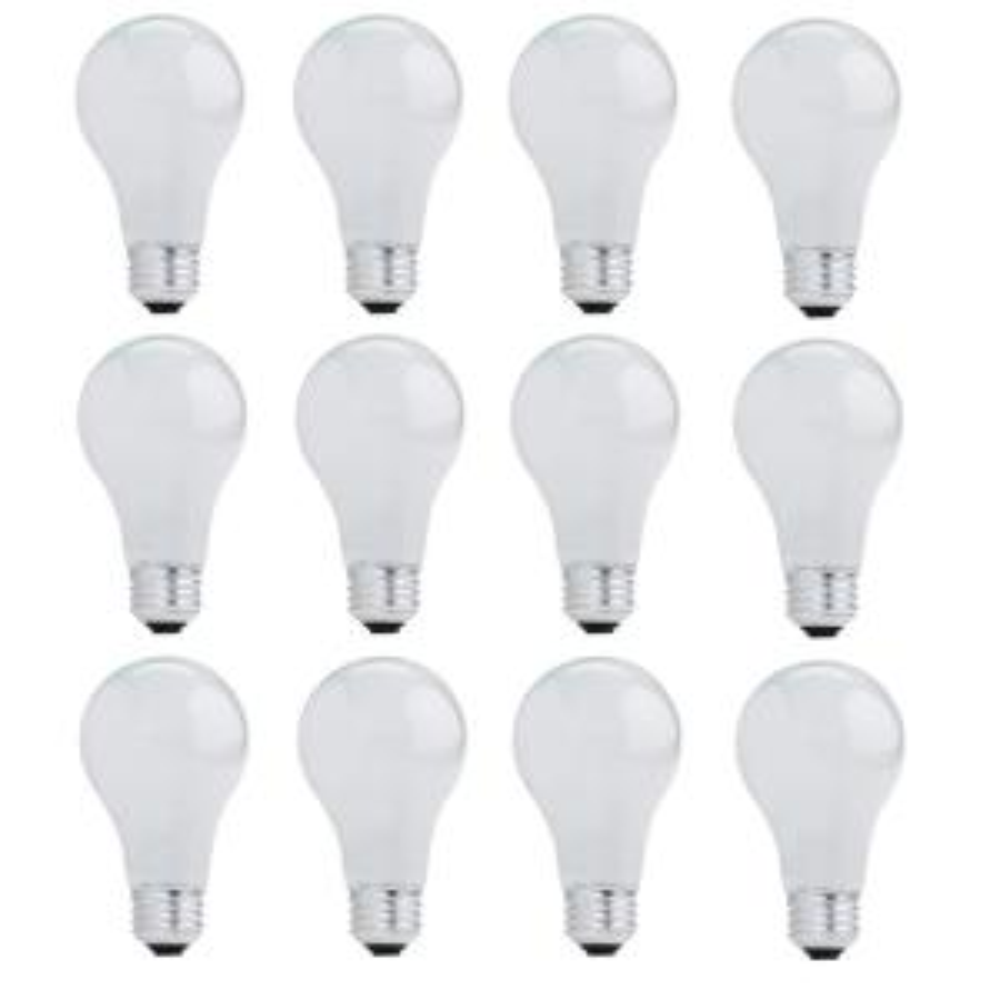 53-Watt A19 Dimmable Soft White Halogen Light Bulb (12-Pack)