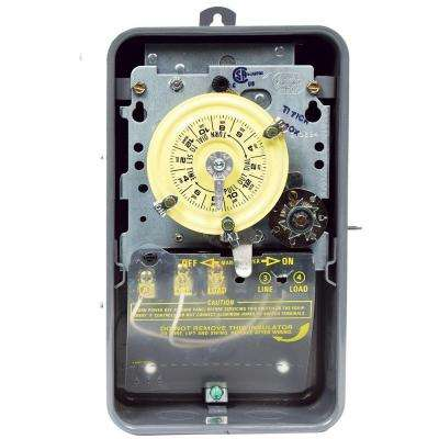 T170 Series 40-Amp 24-Hour Mechanical Time Switch with Skipper - Carryover and Outdoor Enclosure - Gray