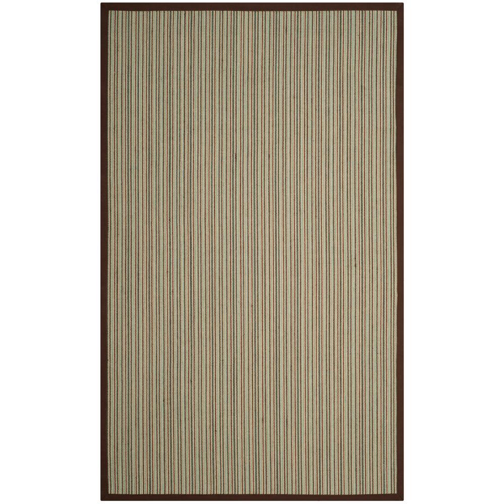 Natural Fiber Teal/Brown 4 ft. x 6 ft. Area Rug