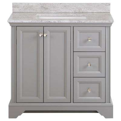 Stratfield 37 in. W x 22 in. D Bath Vanity in Sterling Gray with Stone Effect Vanity Top, Winter Mist with White Sink