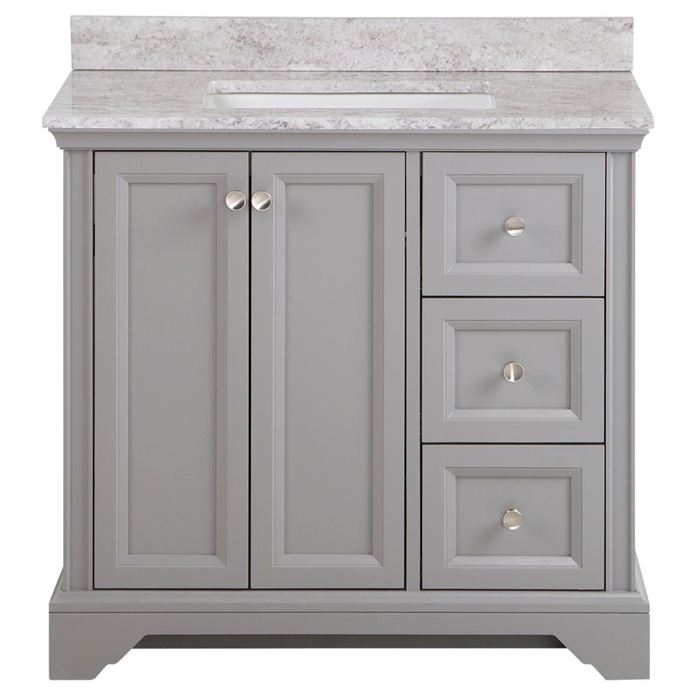 Home Decorators Collection Stratfield 37 in. W x 22 in. D Bath Vanity in Sterling Gray with Stone Effect Vanity Top, Winter Mist with White Sink