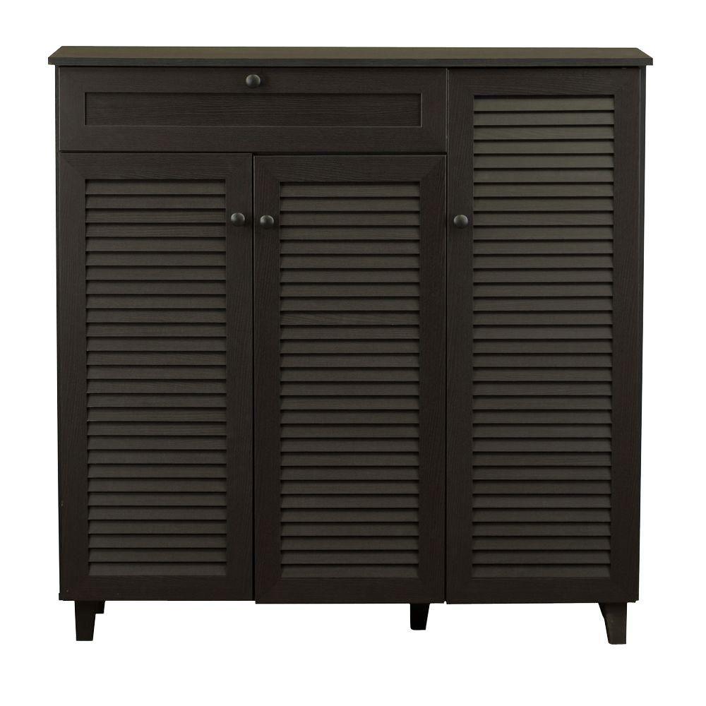 Abelard 45 in. Dark Brown Wood Shoe Storage Cabinet