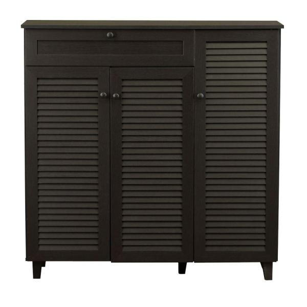 Baxton Studio Abelard 45 in. Dark Brown Wood Shoe Storage Cabinet