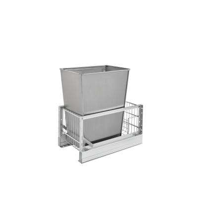 19.13 in. H x 10.81 in. W x 18 in. D Single 32 Qt. Pull-Out Brushed Aluminum and Stainless Steel Waste Container