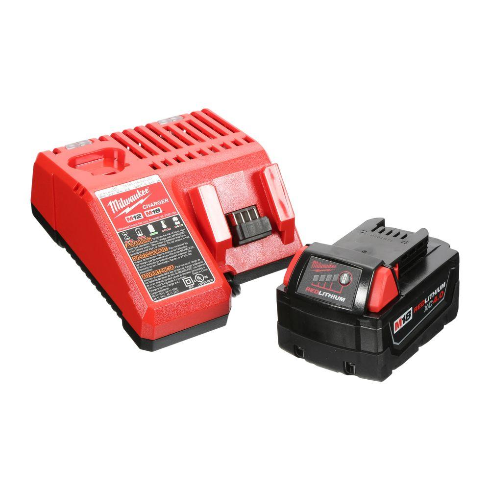 Milwaukee M18 18-Volt 4.0 Ah Battery with Multi-Voltage Charger Starter Kit