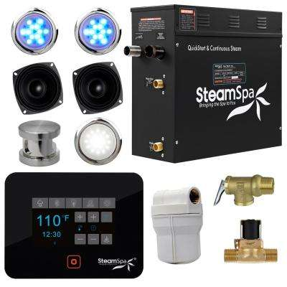 Black Series Bluetooth 9kW QuickStart Steam Bath Generator Package in Brushed Nickel