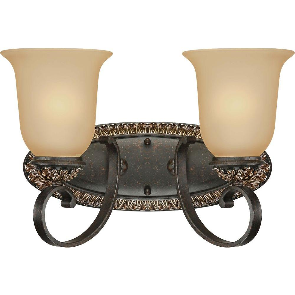 Volume Lighting Bristol 2 Light Vintage Bronze And Antique Gold Bathroom  Vanity Light