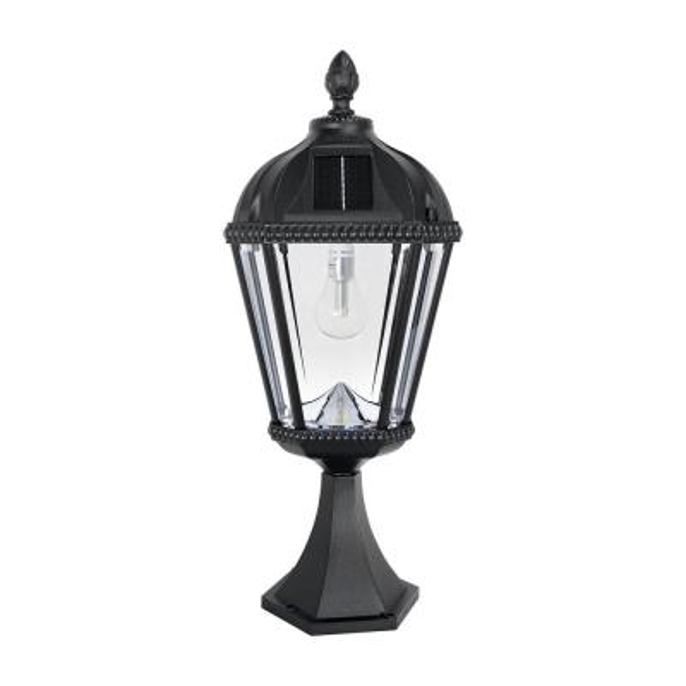 Royal Bulb Series 23 in. 1-Light Black Outdoor Solar Pier Base Post Light