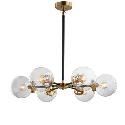Clear jonathan y lighting the home depot 6 light blackbrass cluster pendant mozeypictures Images