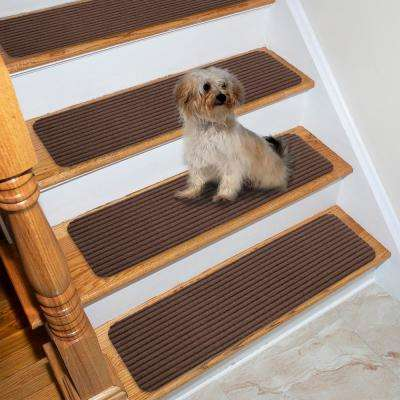 Scrape Rib Collection Brown 8 in. x 30 in. Black Latex Back Stair Tread Cover (Set of 13)