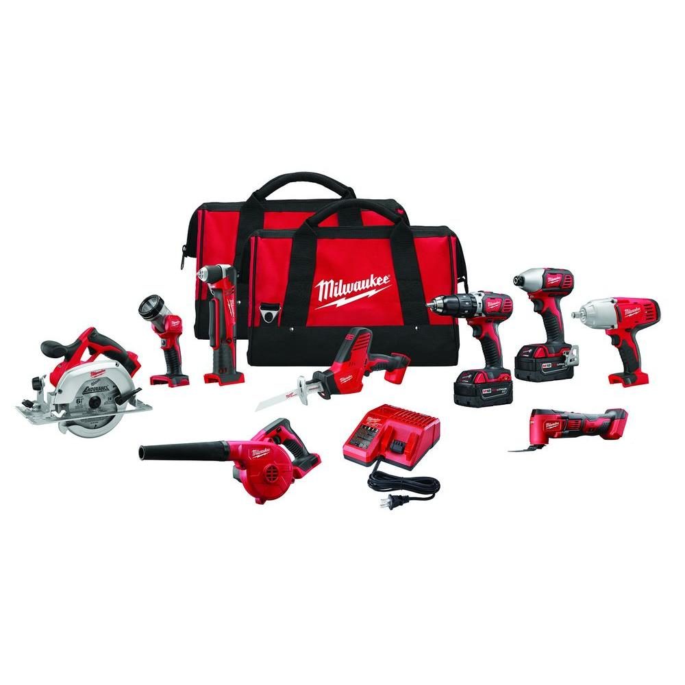 Milwaukee M18 18-Volt Lithium-Ion Cordless Combo Tool Kit (9-Tool) with (2) 3.0Ah Batteries, (1) Charger, (2) Tool Bags