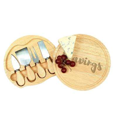 """Cravings"" 8 in. Wood Gourmet 5-Piece Cheese Board Set"