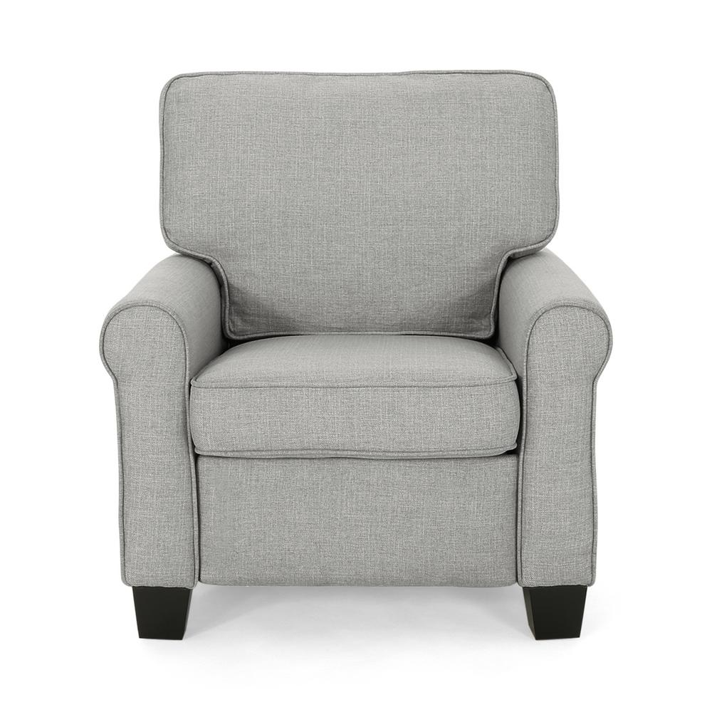 NobleHouse Noble House Cornelius Mid-Century Modern Gray Fabric Club Chair, Gray and Dark Brown