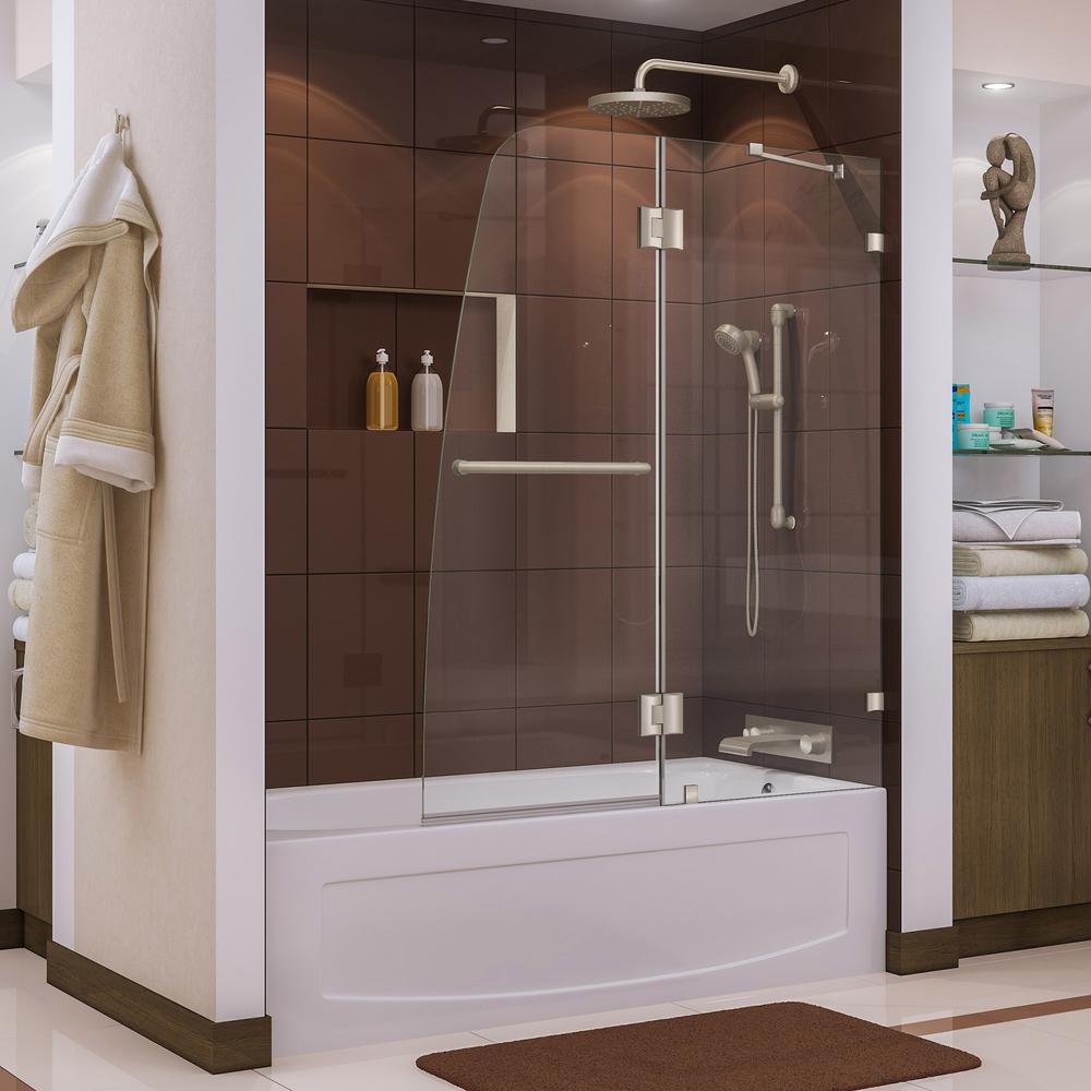 Aqua Lux 48 in. x 58 in. Frameless Pivot Tub/Shower Door in Brushed Nickel with Handle