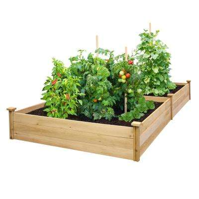 4 ft. x 8 ft. x 10.5 in. Unfinished (0.5 in. to 0.625 in. T) Value Cedar Raised Garden Bed